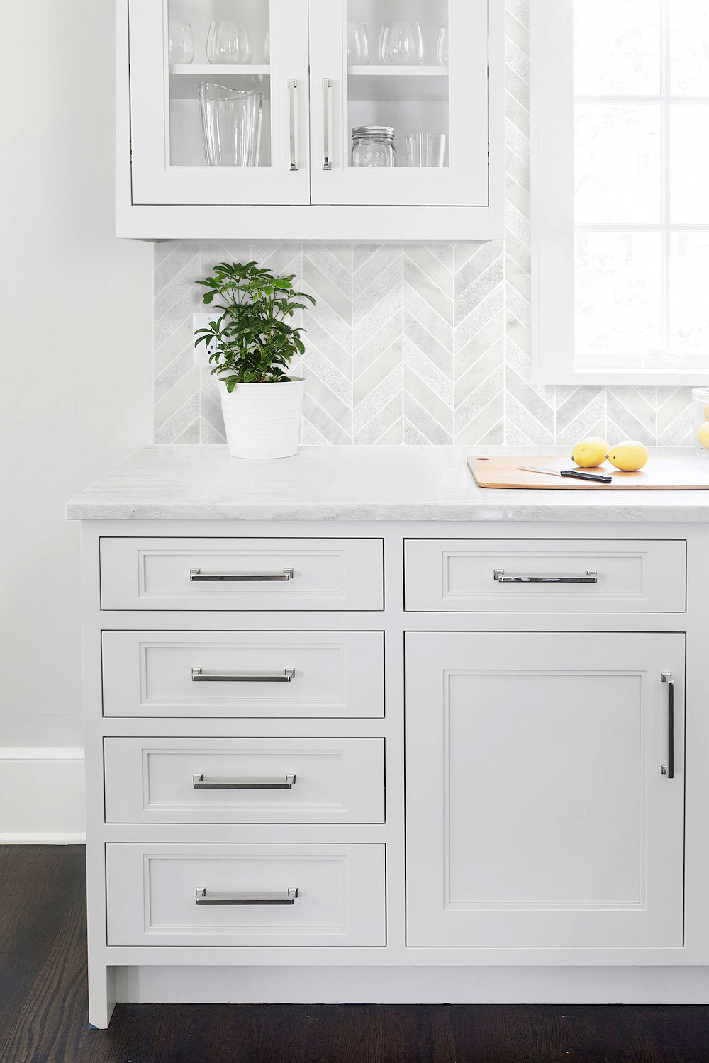 White Kitchen Cabinets Marble Countertop Chevron Backsplash Tile