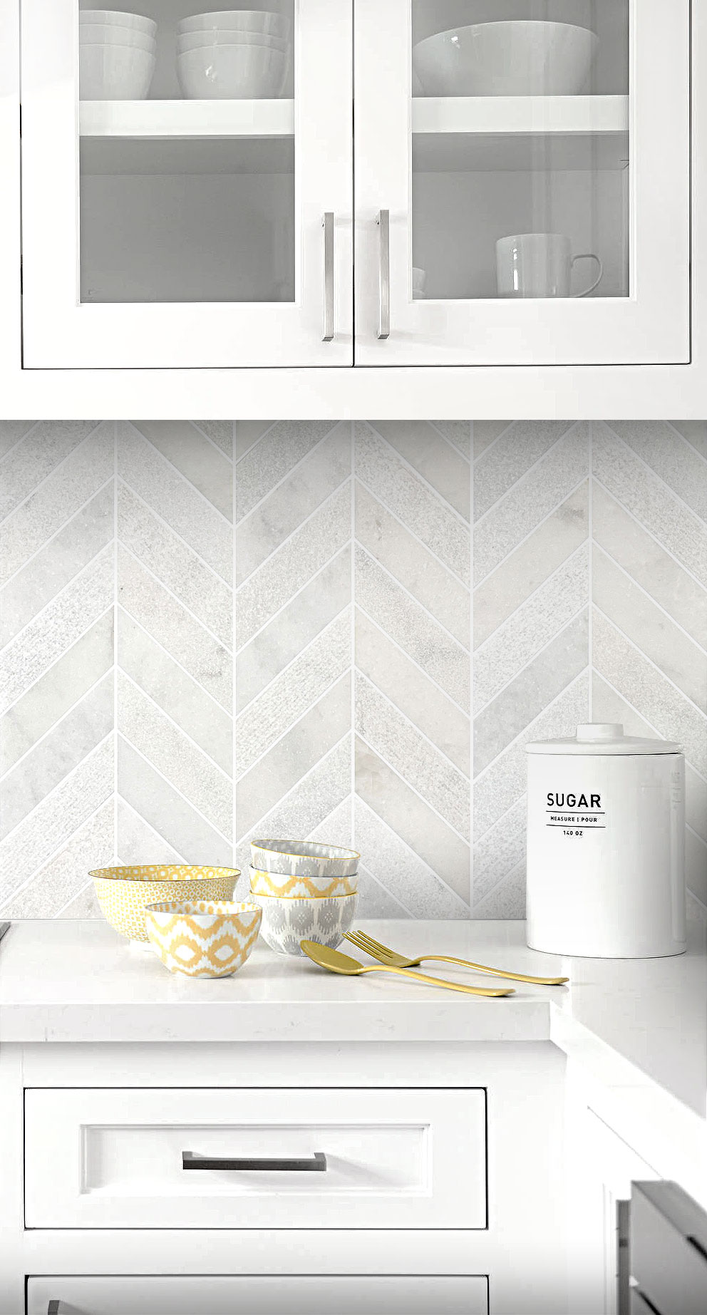 - White Modern Limestone Chevron Backsplash Tile Backsplash.com