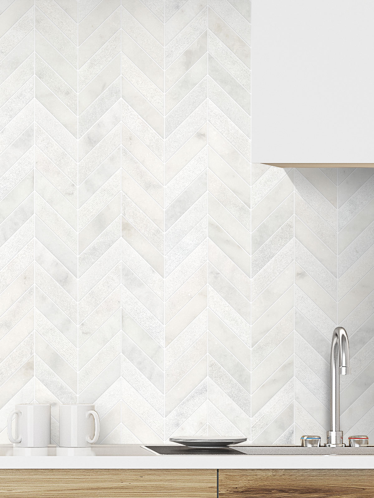 White modern marble chevron mosaic backsplash tile white cabinet BA631613
