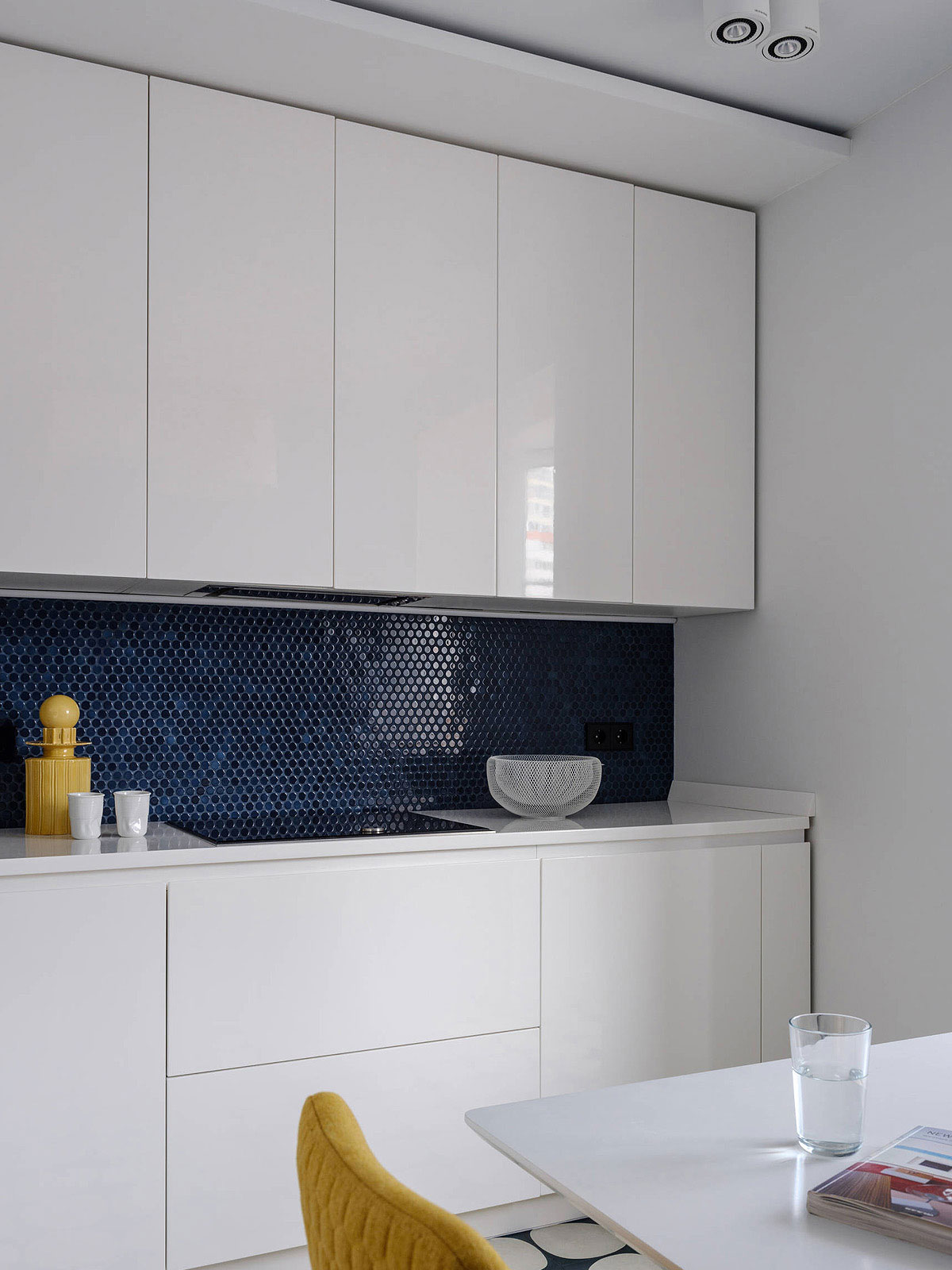 Modern White Kitchen Cabinets Blue Penny Mosaic Backsplash