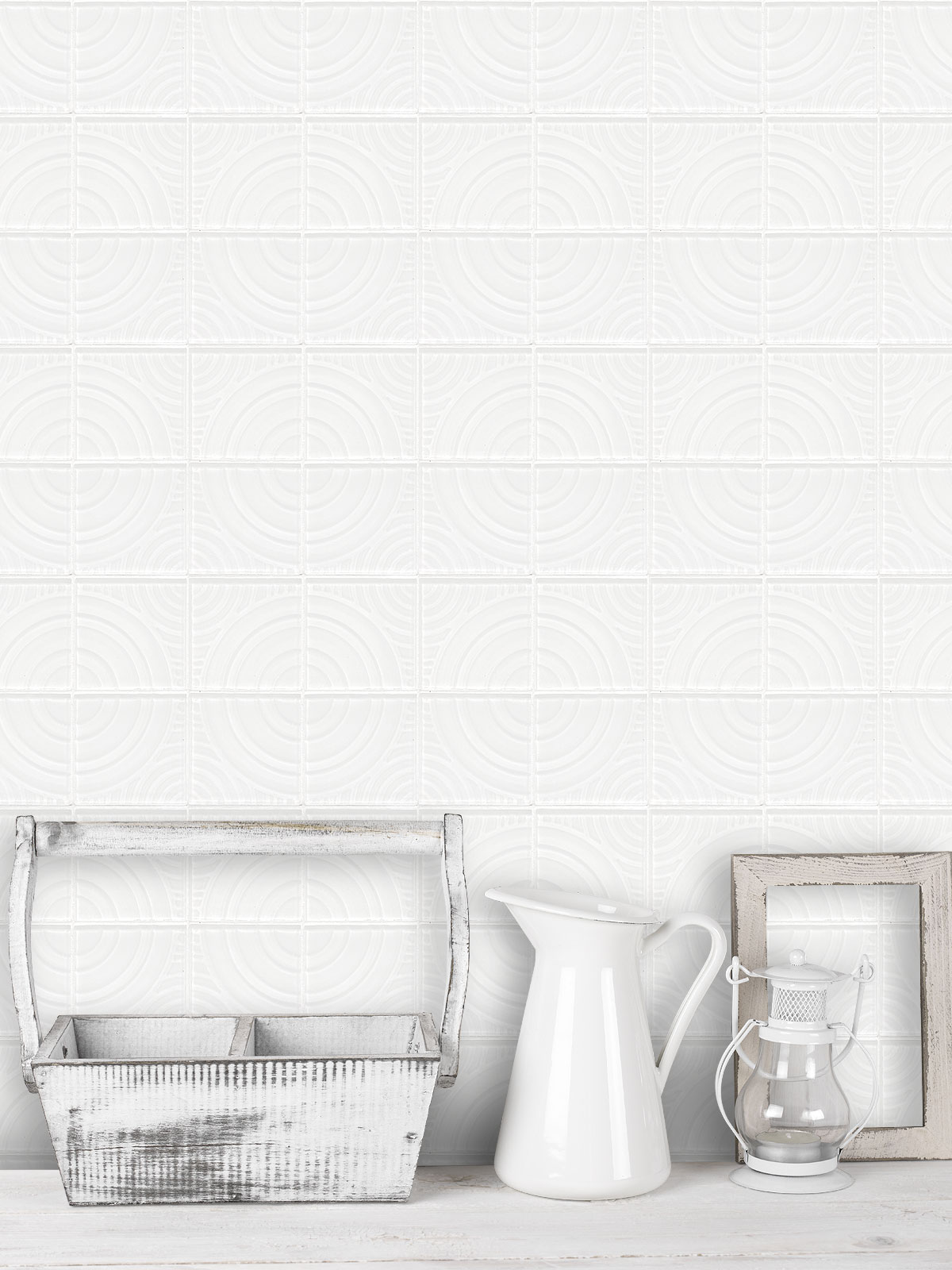 White glass backsplash tile with 3D pattern BA64001