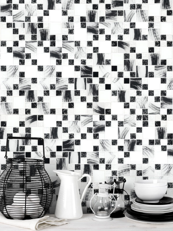 Black White Glass Mosaic Backsplash Tile BA64002