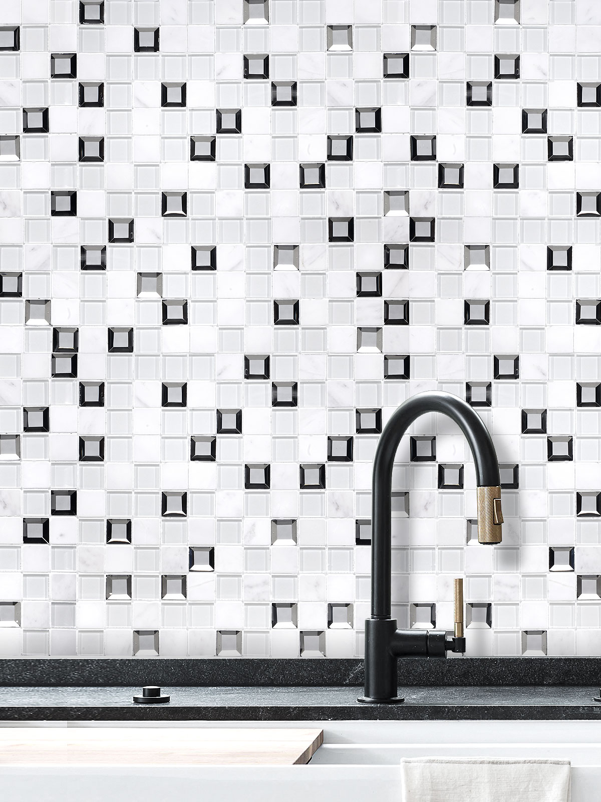 Modern White Glass Marble Mirror Backsplash Tiles BA62047