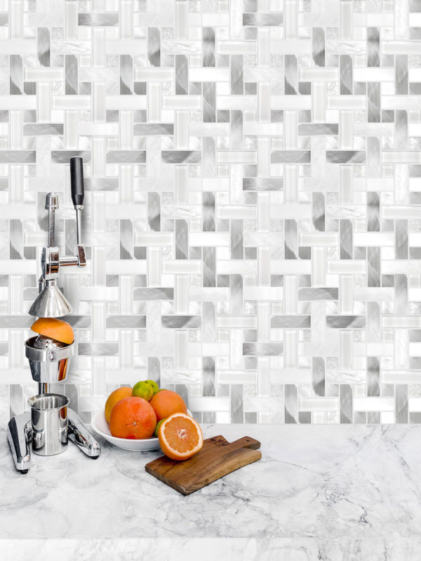 Modern White Metal Marble Glass Backsplash Tile BA1215