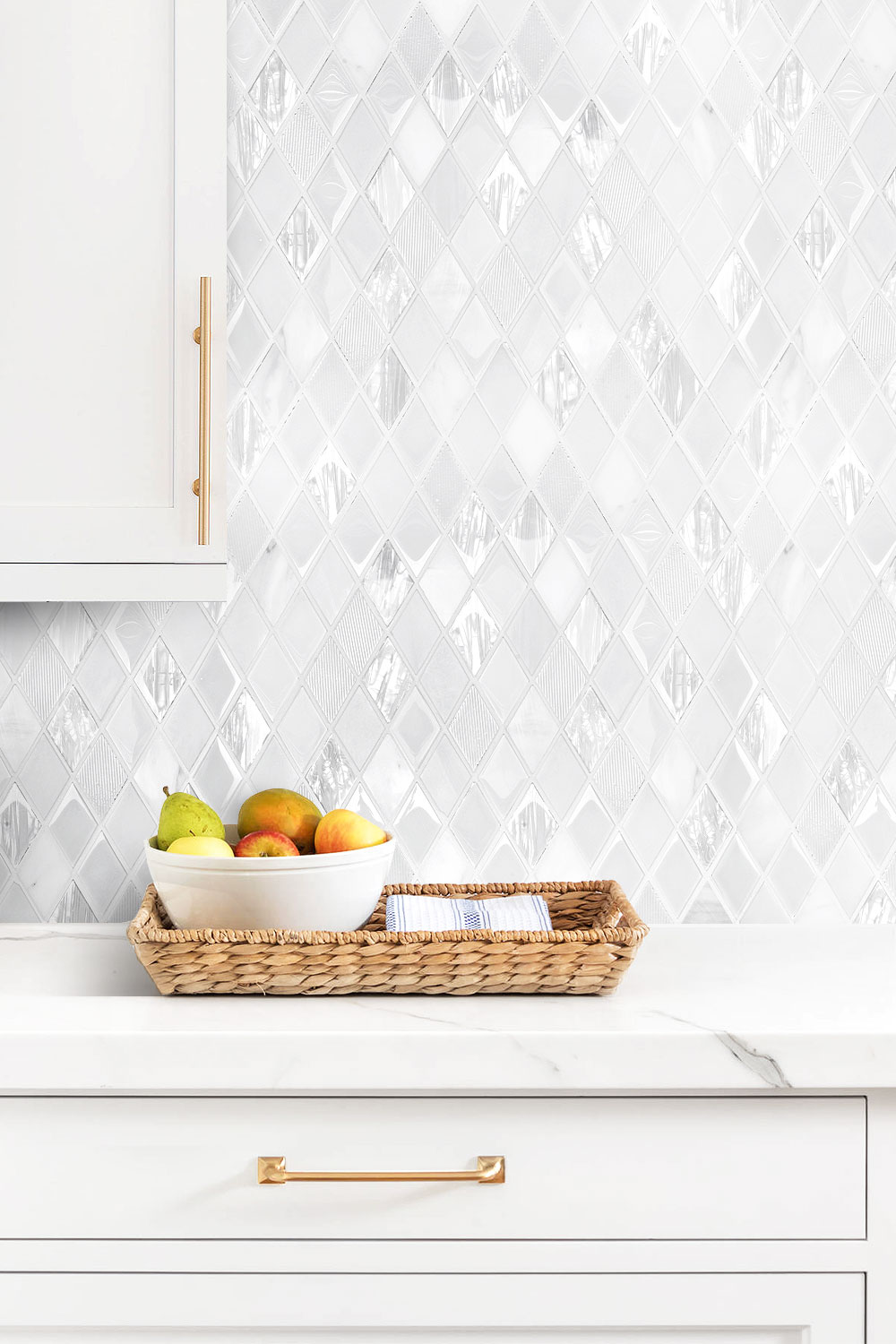 - Elegant White Rhomboid Backsplash Tile Backsplash.com