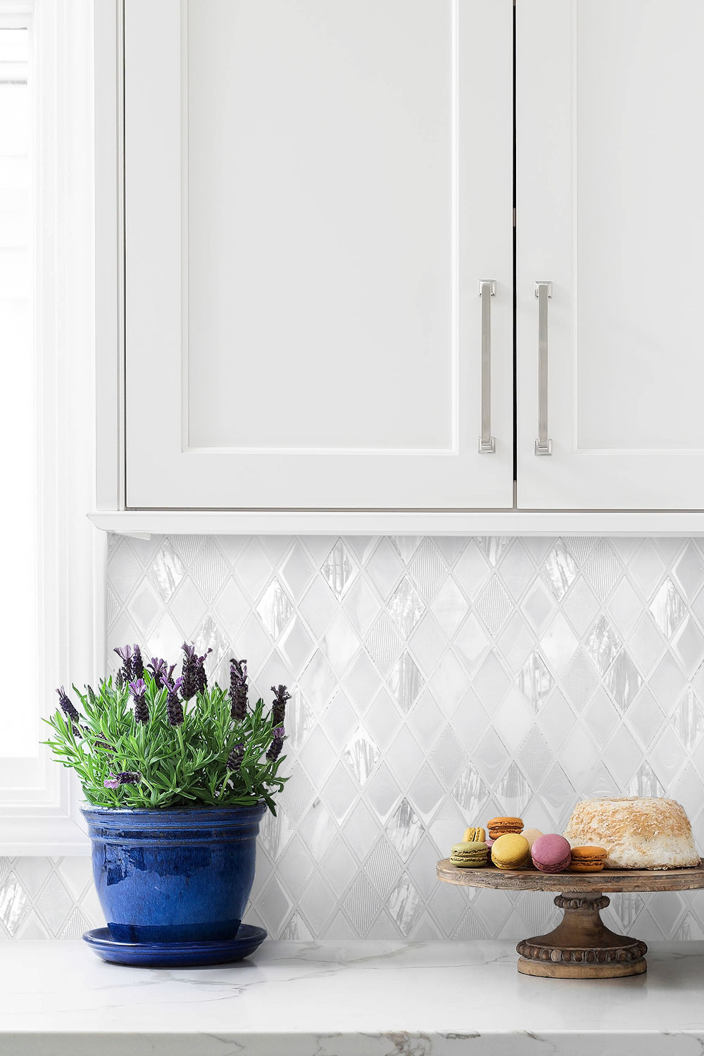 White Backsplash Tile Kitchen Cabinet Marble Countertop