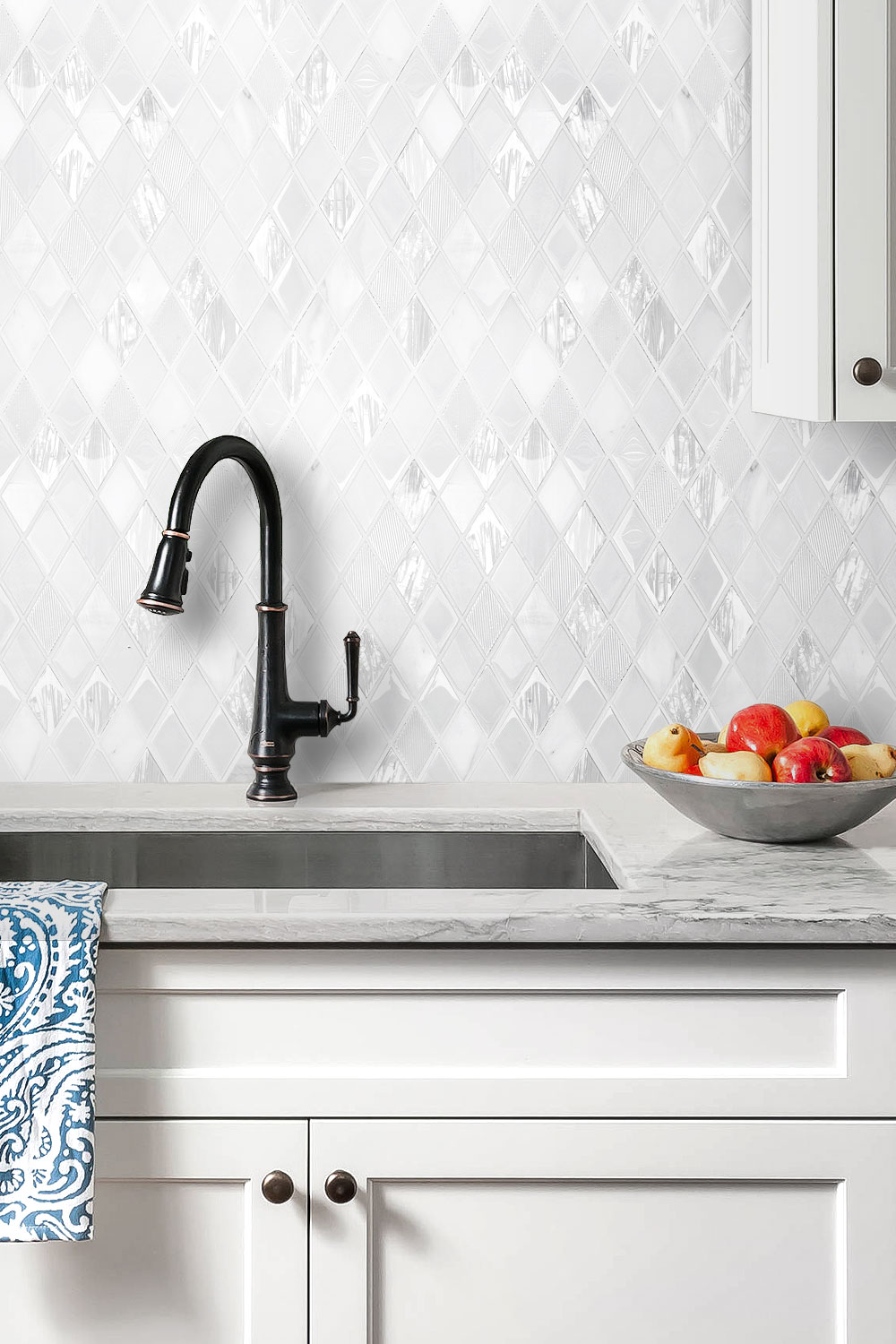 Elegant White Rhomboid Backsplash Tile Backsplash Com