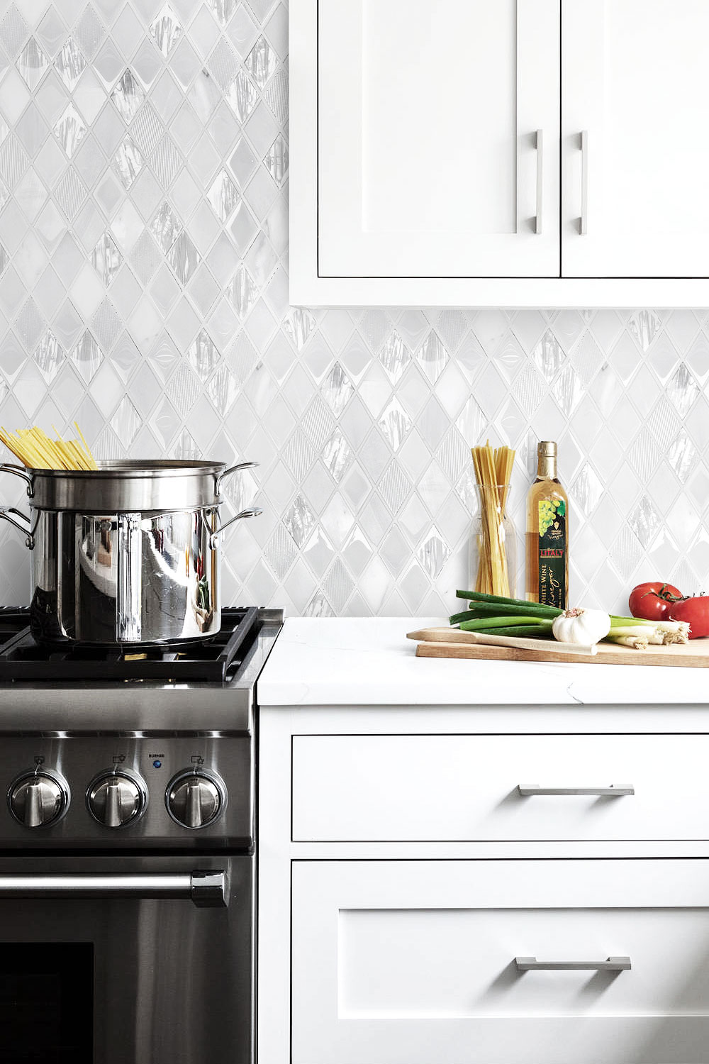 White Backsplash Tile White Quartz Countertop And Cabinet