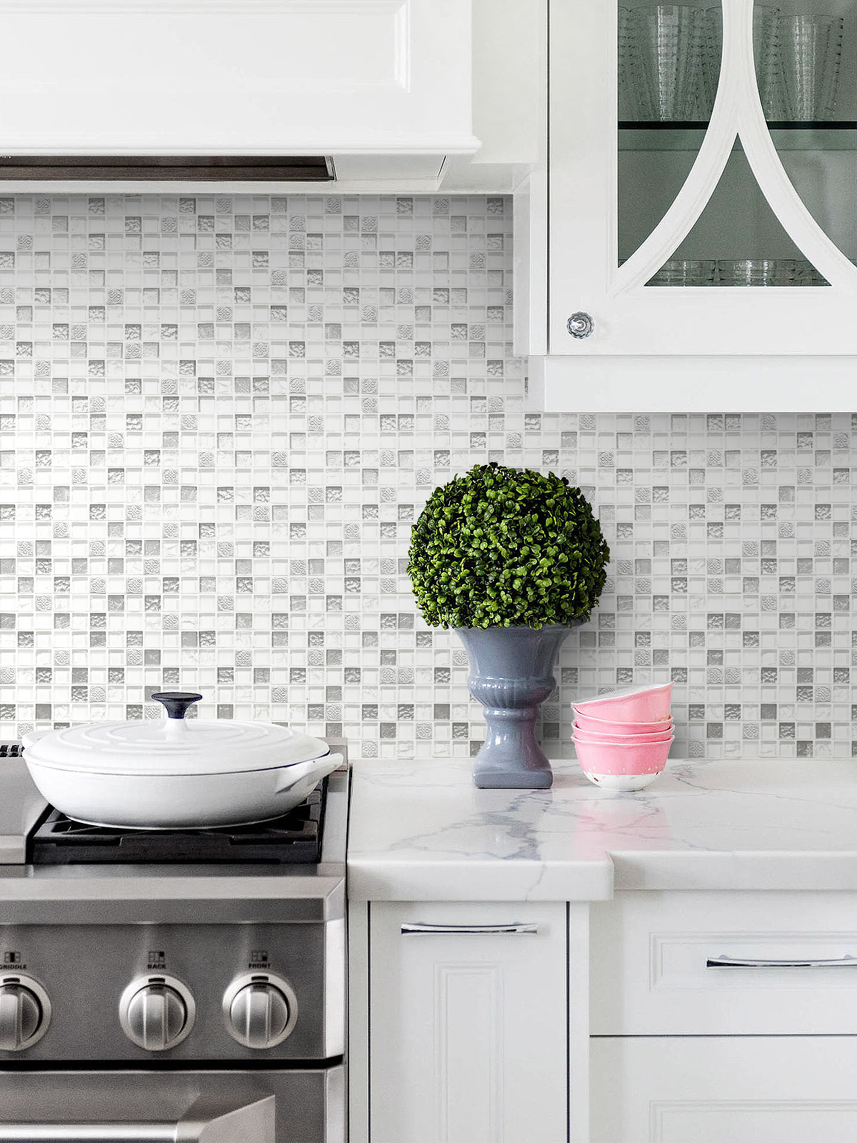 - White & Silver Color Elegant Glass Backsplash Tile Backsplash.com