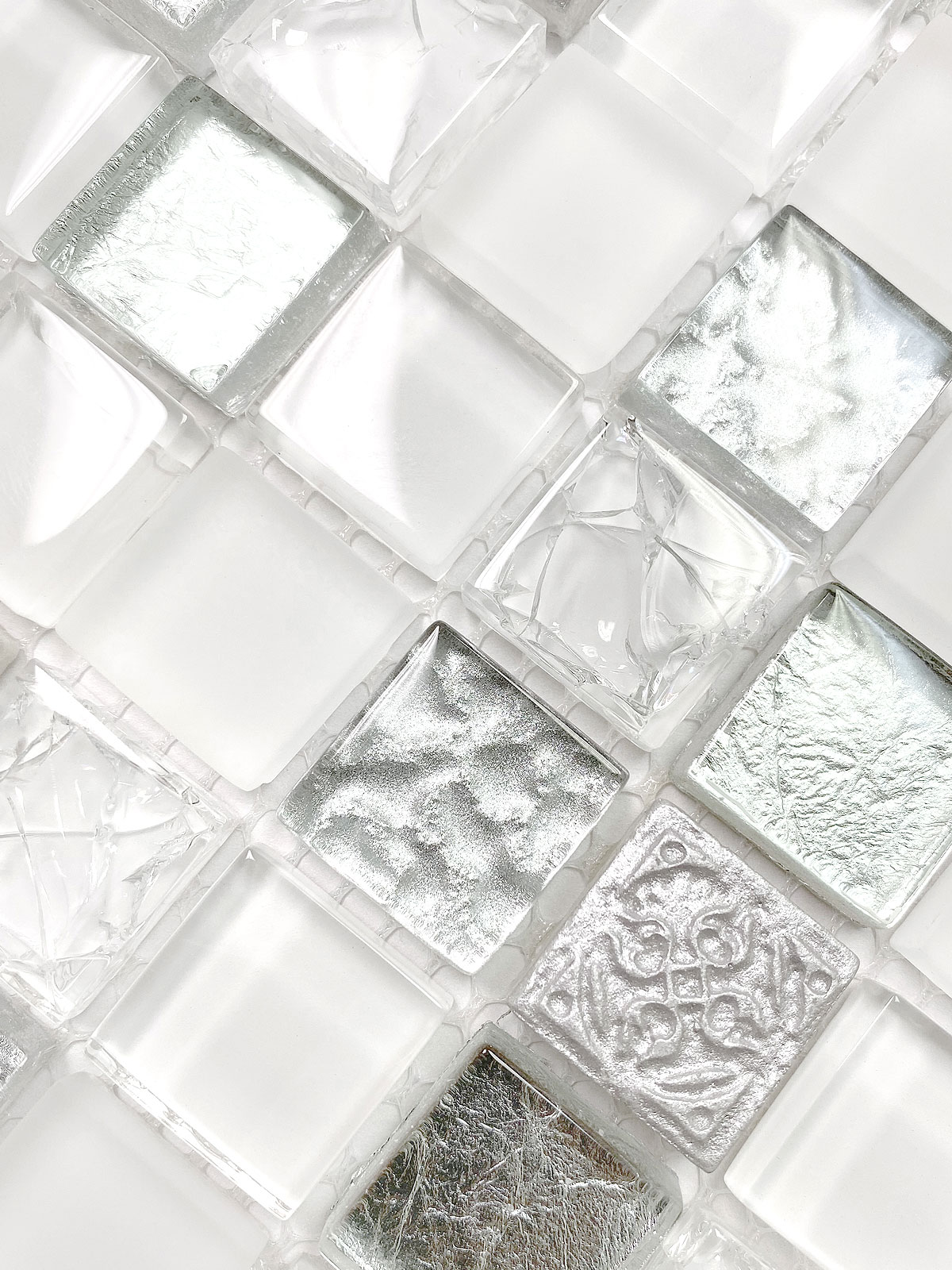 White Silver Mosaic Backsplash Tile 5 BA1206