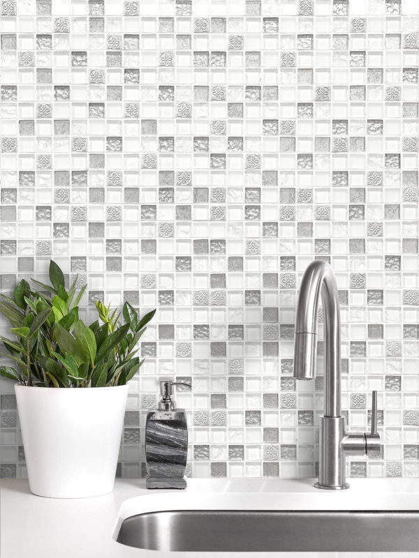 White Silver Mosaic Backsplash Tile BA1206