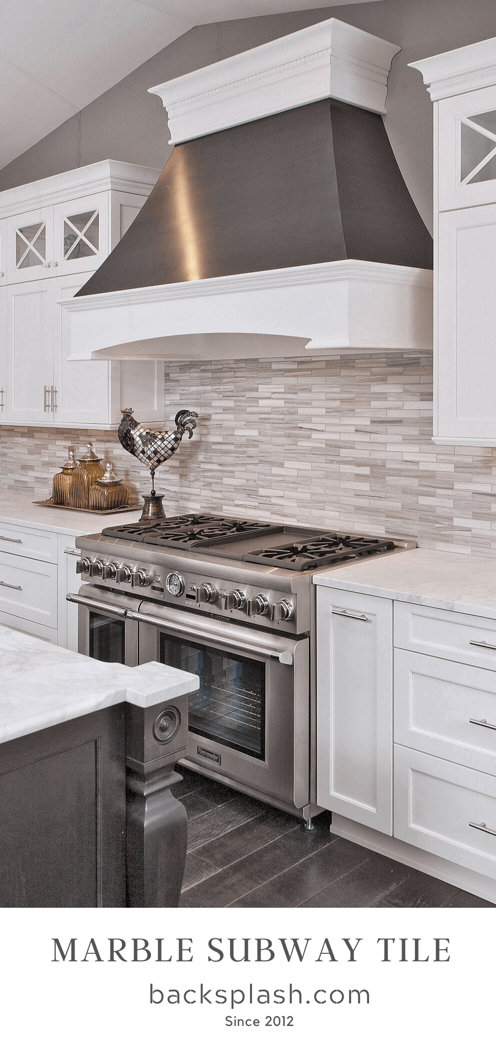 - Modern White Gray Subway Marble Backsplash Tile