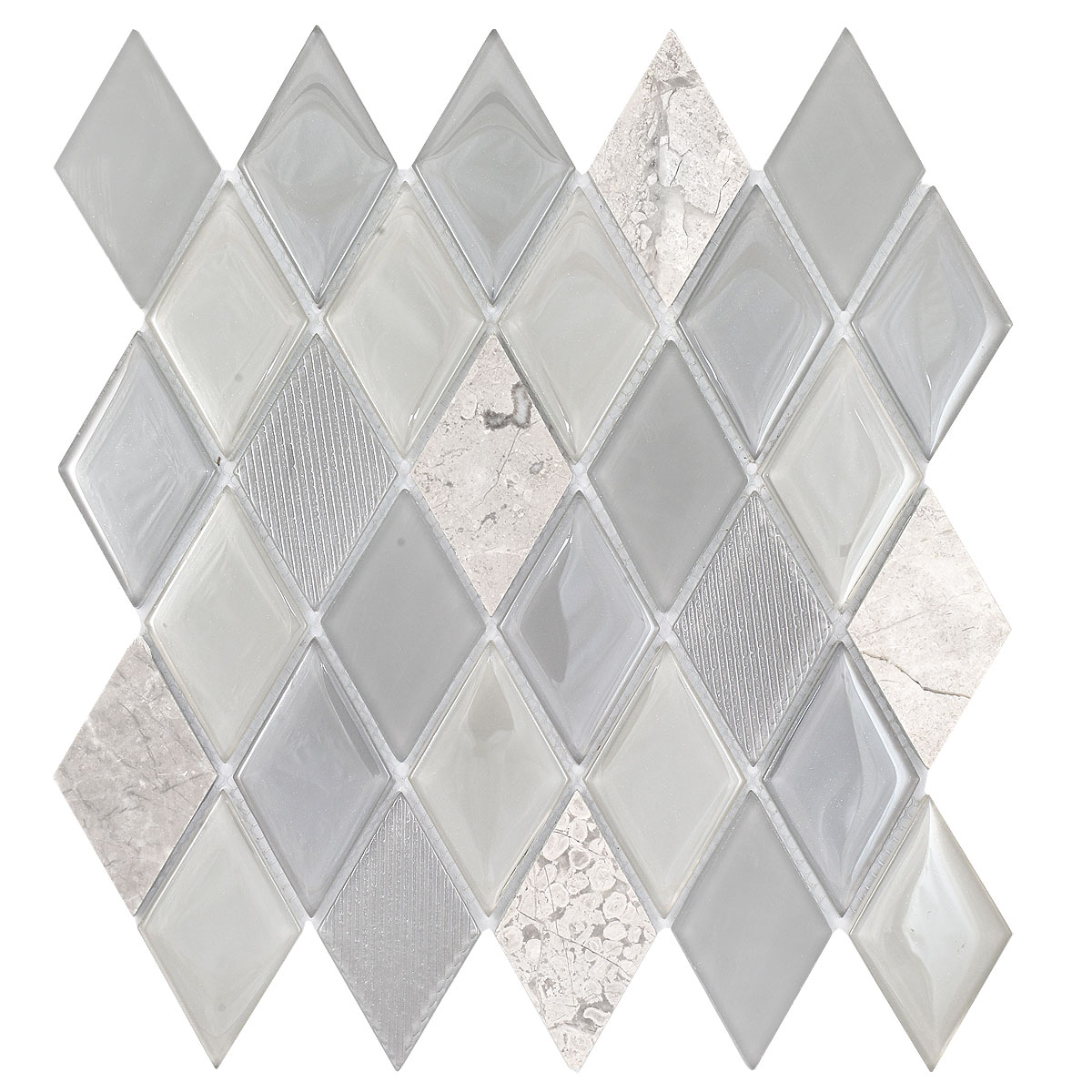 - Gray Glass And Marble Mix Rhomboid Design Backsplash Tile