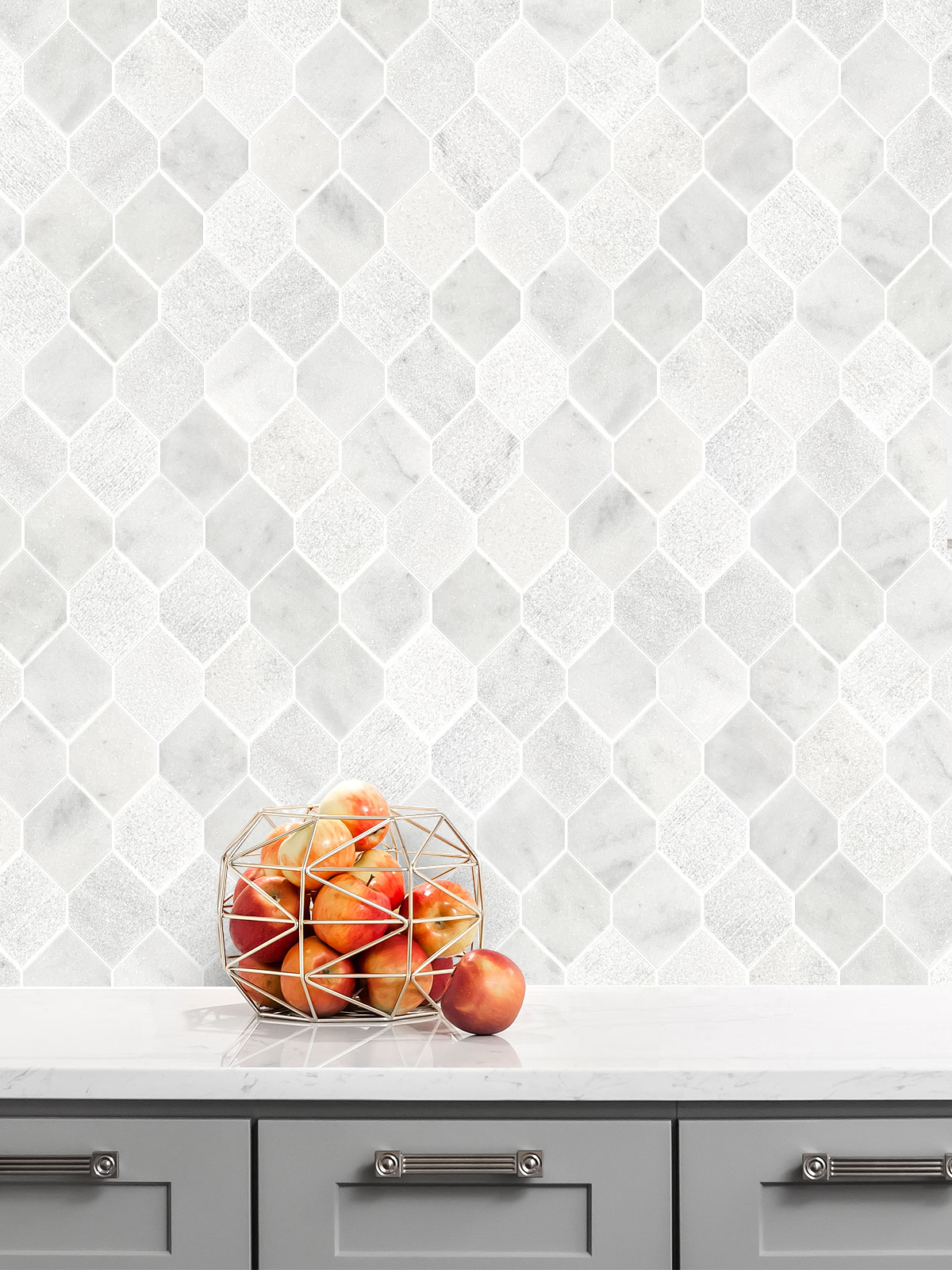 White Gray Marble Backsplash Tile Gray Kitchen Cabinet BA630112