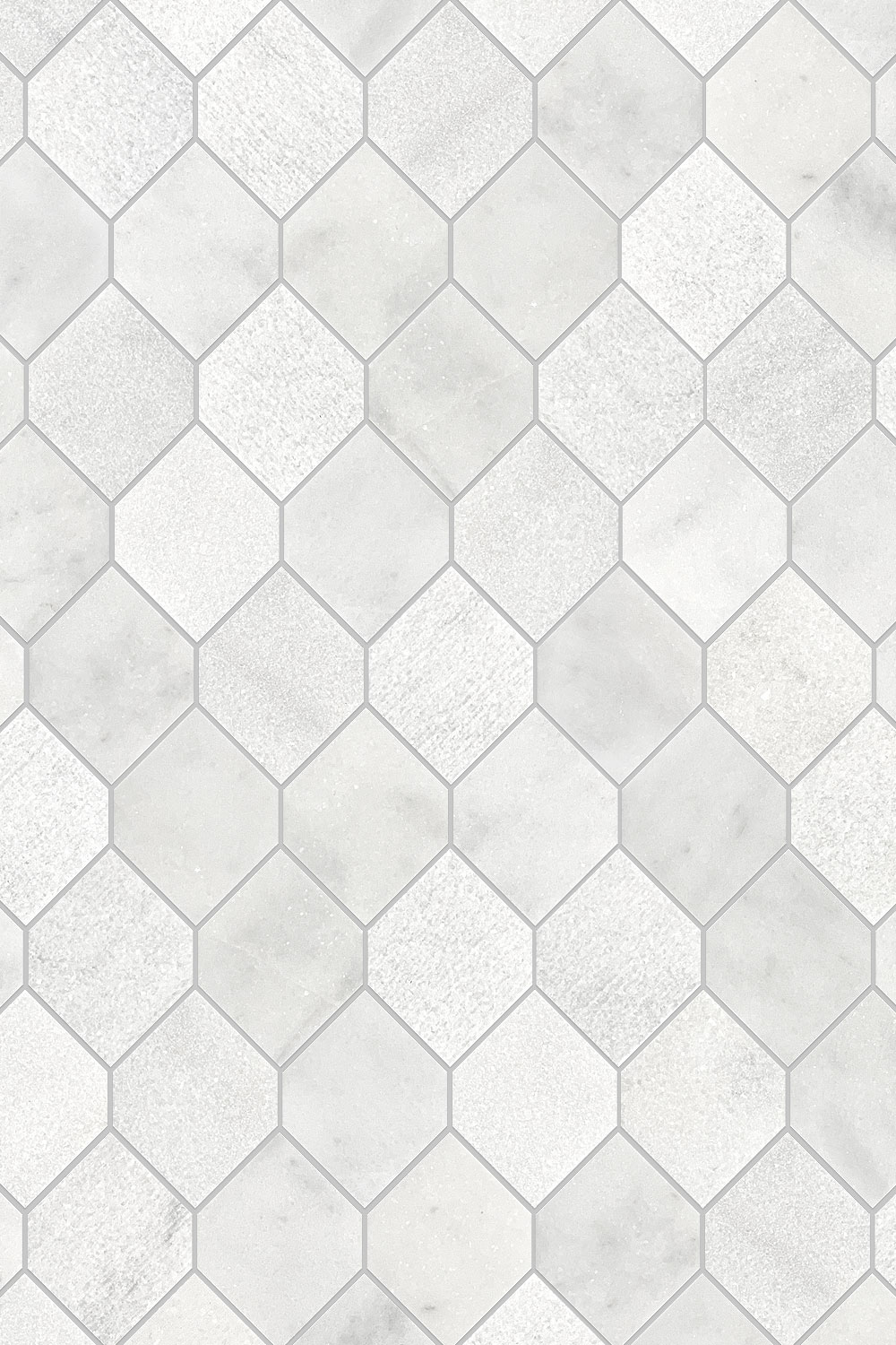 White Gray Marble Mosaic Backsplash Tile Gray Grout BA630112